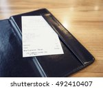receipt bill in folder shopping ... | Shutterstock . vector #492410407