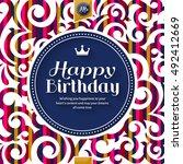 happy birthday greeting card ... | Shutterstock .eps vector #492412669