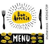 bon appetit poster with fork... | Shutterstock .eps vector #492414739