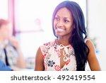 portrait of smiling afro... | Shutterstock . vector #492419554