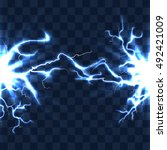 electrical discharge with... | Shutterstock .eps vector #492421009