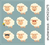 vector set isolated emotion... | Shutterstock .eps vector #492421675