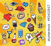 patches and stickers collection ... | Shutterstock .eps vector #492422017