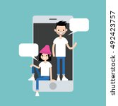 mobile messenger concept.... | Shutterstock .eps vector #492423757