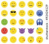 set of twenty five emoticons.   Shutterstock .eps vector #492424129