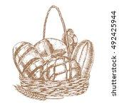 fresh bread basket hand draw... | Shutterstock .eps vector #492425944