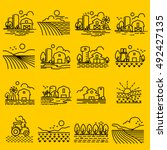 farming fields line icons... | Shutterstock .eps vector #492427135