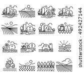 farming fields line  icons... | Shutterstock .eps vector #492427144