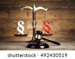 wooden gavel barrister  justice ... | Shutterstock . vector #492430519