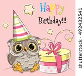 greeting card cute owl with... | Shutterstock .eps vector #492432541
