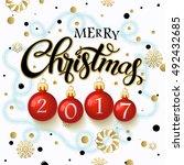 merry christmas 2017 poster.... | Shutterstock .eps vector #492432685