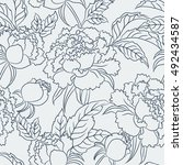 peony seamless pattern. floral... | Shutterstock .eps vector #492434587