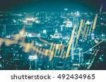 double exposure of business... | Shutterstock . vector #492434965