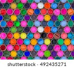 colorful water color in bottles ... | Shutterstock . vector #492435271