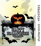 pumpkin for happy halloween  ... | Shutterstock .eps vector #492439861