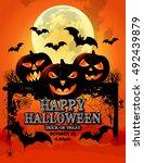 pumpkin for happy halloween  ... | Shutterstock .eps vector #492439879
