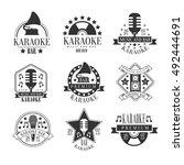 karaoke club black and white... | Shutterstock .eps vector #492444691
