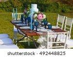 decorated for wedding elegant... | Shutterstock . vector #492448825