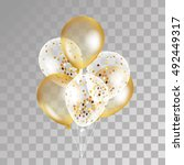 gold transparent balloon on... | Shutterstock .eps vector #492449317