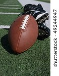 football equipment on sideline - stock photo