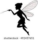 fairy waving her wand | Shutterstock . vector #492457651