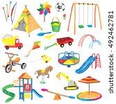 doodle playground set | Shutterstock .eps vector #492462781
