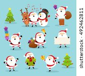cute santa set | Shutterstock .eps vector #492462811