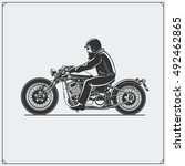 motorcycle rider with racer... | Shutterstock .eps vector #492462865