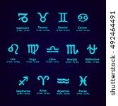 zodiac icons. horoscope set ... | Shutterstock .eps vector #492464491