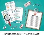 clipboard with hospitals agenda ... | Shutterstock .eps vector #492464635