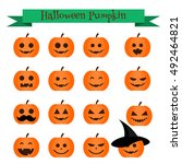 Cute Vector Halloween Pumpkin...