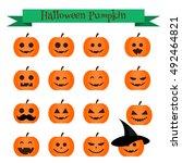 Cute Vector Halloween Pumpkin...