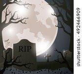halloween cemetery background... | Shutterstock .eps vector #492466909