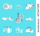 vector crockery set. kitchen... | Shutterstock .eps vector #492467389