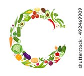 c letter from vegetables. | Shutterstock . vector #492469909