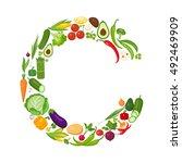 c letter from vegetables. | Shutterstock . vector #492469909