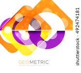 shiny geometric vector abstract ... | Shutterstock .eps vector #492474181