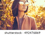 outdoor fashion photo of young... | Shutterstock . vector #492476869
