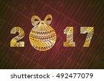 christmas ball vector... | Shutterstock .eps vector #492477079