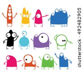 set of twelve cute monsters | Shutterstock .eps vector #492482905