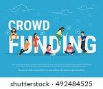 crowd funding illustration of... | Shutterstock .eps vector #492484525