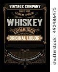 western label for whiskey or... | Shutterstock .eps vector #492486475