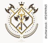 vintage heraldry design... | Shutterstock .eps vector #492494965