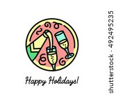 flat line icon on the new year... | Shutterstock .eps vector #492495235