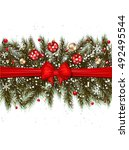 christmas background realistic... | Shutterstock .eps vector #492495544