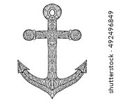 anchor vector on a white... | Shutterstock .eps vector #492496849