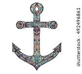 anchor vector on a white... | Shutterstock .eps vector #492496861