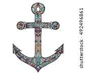 anchor vector on a white... | Shutterstock .eps vector #492496861