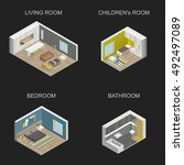 set of vector isometric rooms... | Shutterstock .eps vector #492497089
