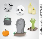 halloween icon set isolated on... | Shutterstock .eps vector #492497485